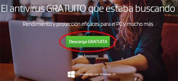 Boton para iniciar la descarga de AVG antivirus gratis