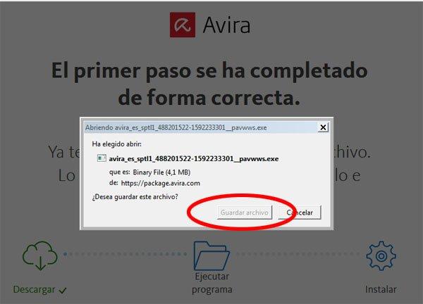 Guardar ejecutable avira antivirus