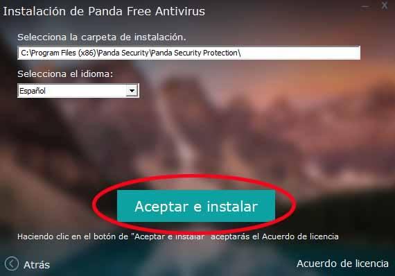 aceptar e instalar panda antivirus
